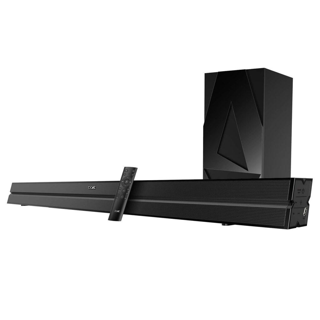 Boat AAVANTE Bar 1500 Wireless Bluetooth Soundbar with 120 W boAt signature sound Speaker with wired Subwoofer and Multiple connectivity modes, entertainment EQ modes,HDMI with sleek finish
