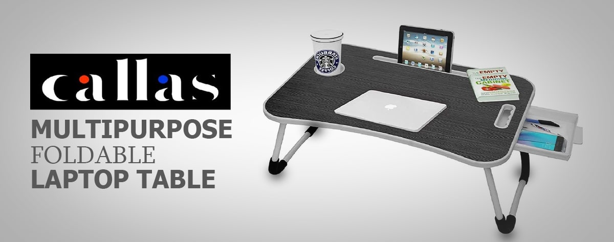 Callas Multipurpose Foldable Laptop Table with Cup Holder Drawer Mac Holder Table Holder Study Table, Breakfast Table